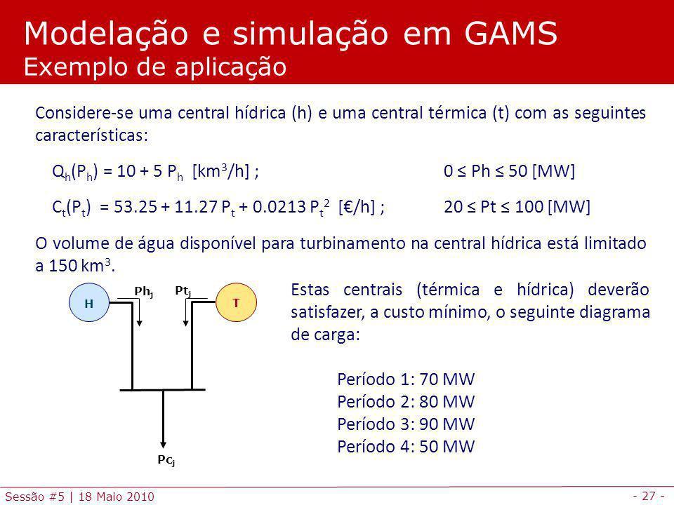 Modelação e simulação em GAMS Exemplo de aplicação