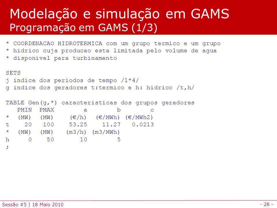 Modelação e simulação em GAMS Programação em GAMS (1/3)