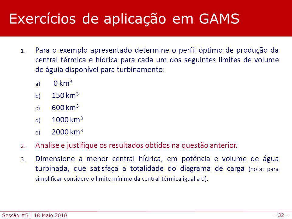Exercícios de aplicação em GAMS