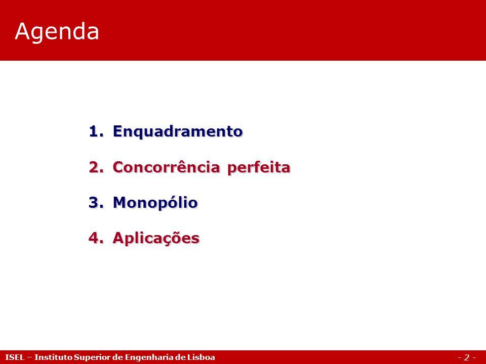 Agenda Enquadramento Concorrência perfeita Monopólio Aplicações
