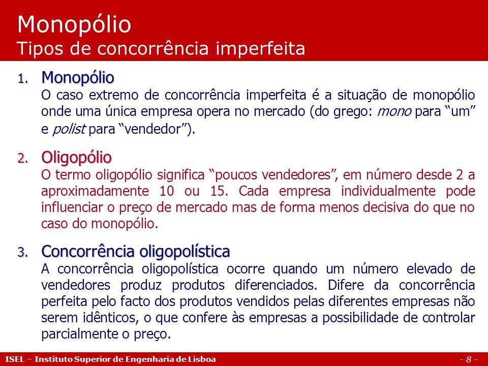 Monopólio Tipos de concorrência imperfeita