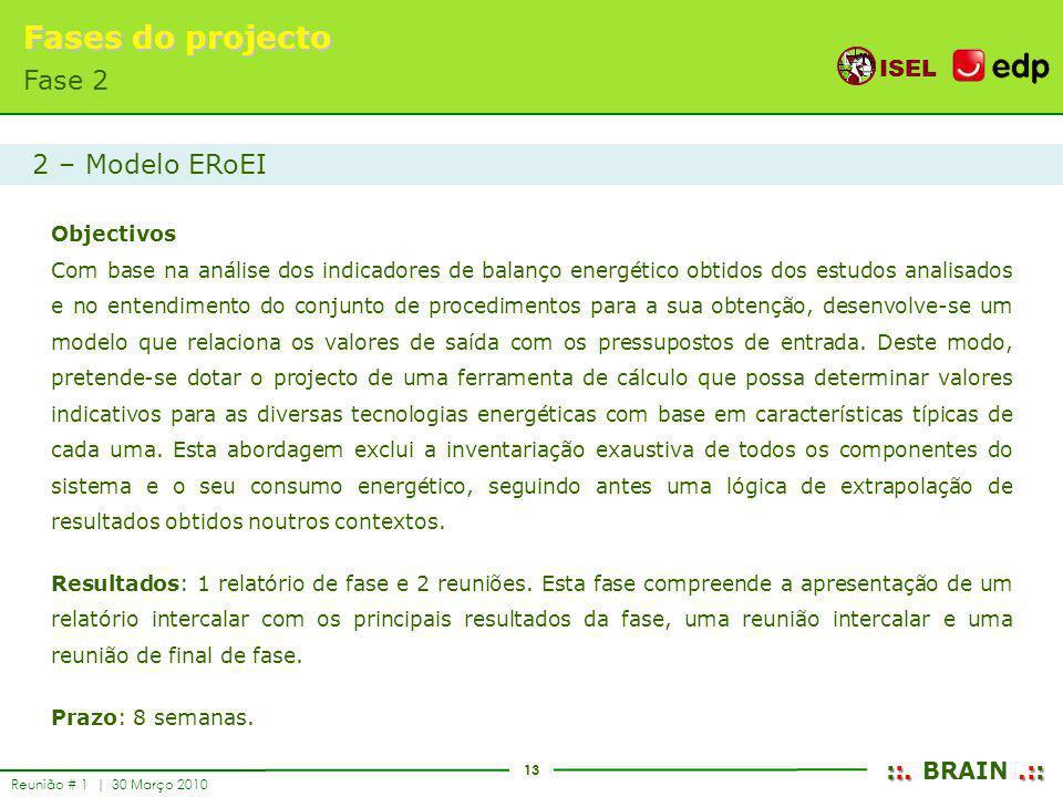 Fases do projecto Fase 2 2 – Modelo ERoEI Objectivos