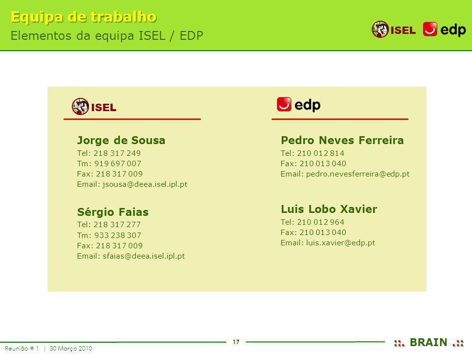 Equipa de trabalho Elementos da equipa ISEL / EDP ISEL Jorge de Sousa