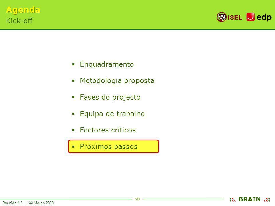 Agenda Kick-off Enquadramento Metodologia proposta Fases do projecto