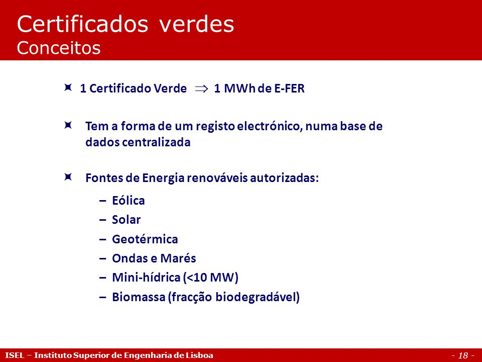 Certificados verdes Conceitos