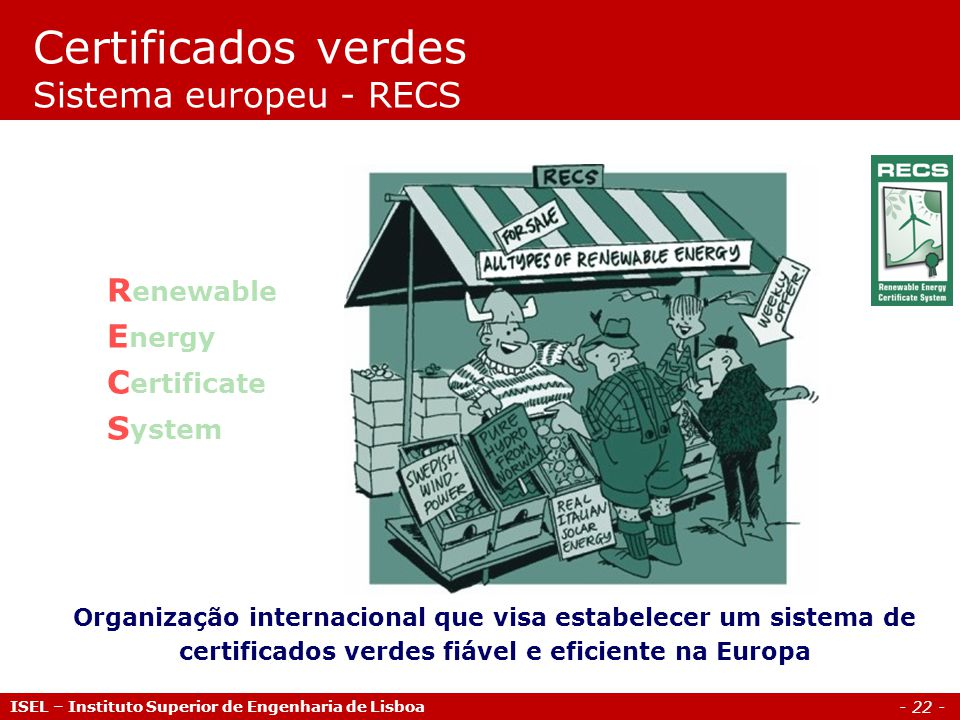 Certificados verdes Sistema europeu - RECS