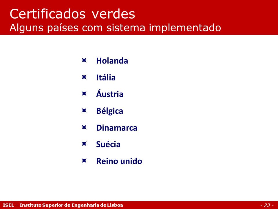Certificados verdes Alguns países com sistema implementado
