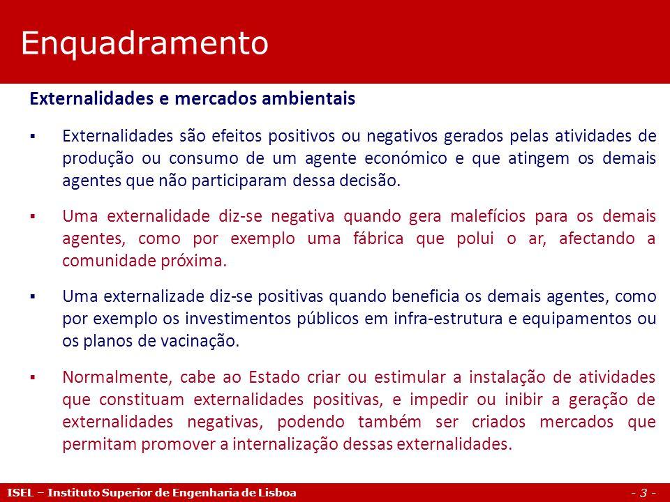 Enquadramento Externalidades e mercados ambientais