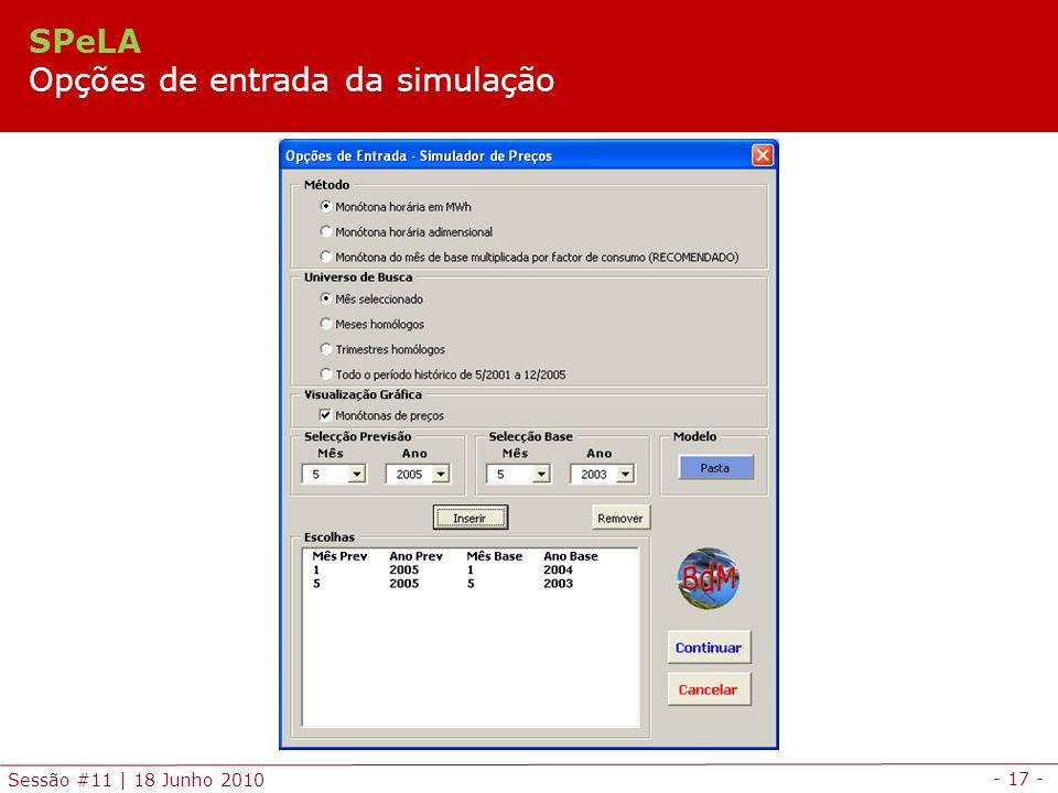 SPeLA Opções de entrada da simulação