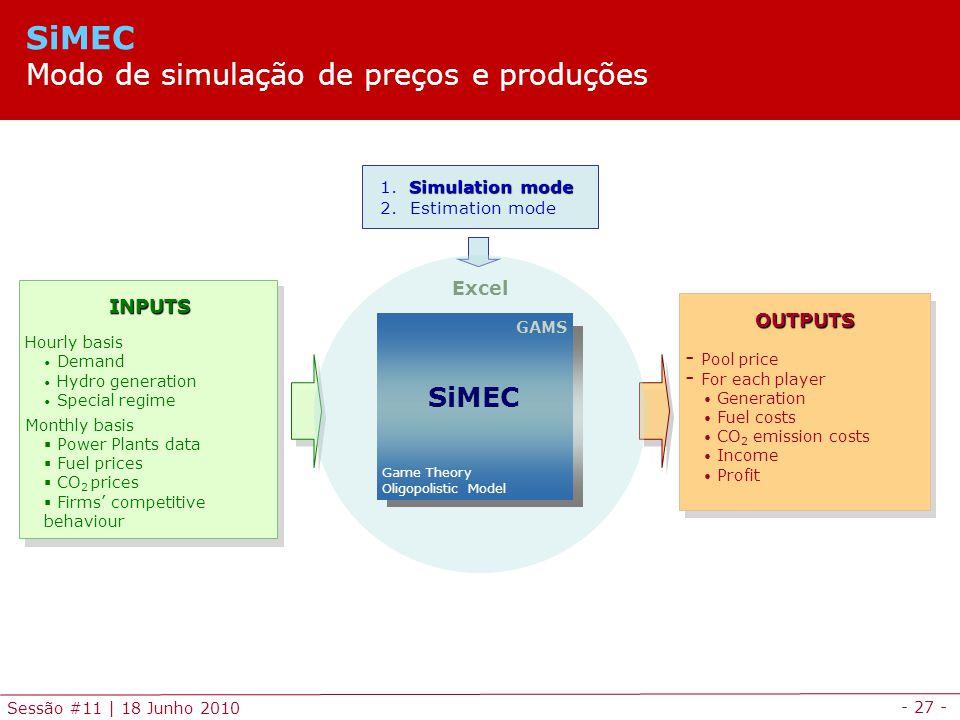 SiMEC Modo de simulação de preços e produções