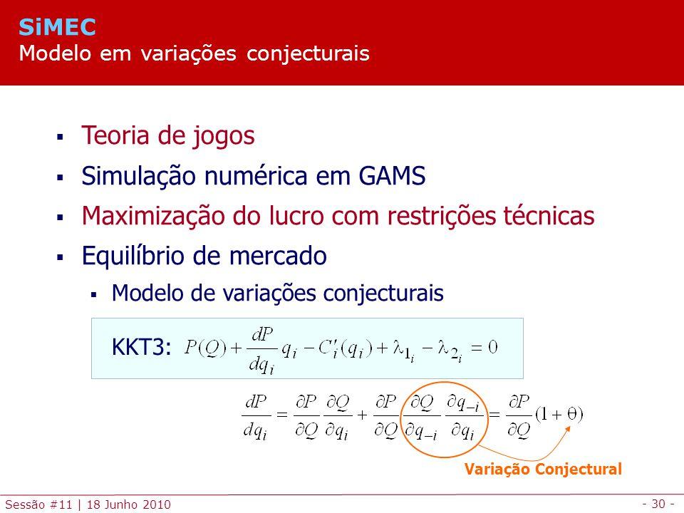 Simulação numérica em GAMS
