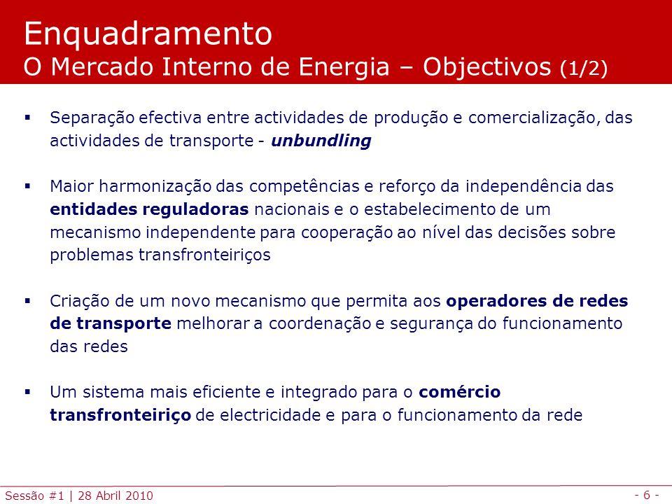 Enquadramento O Mercado Interno de Energia – Objectivos (1/2)