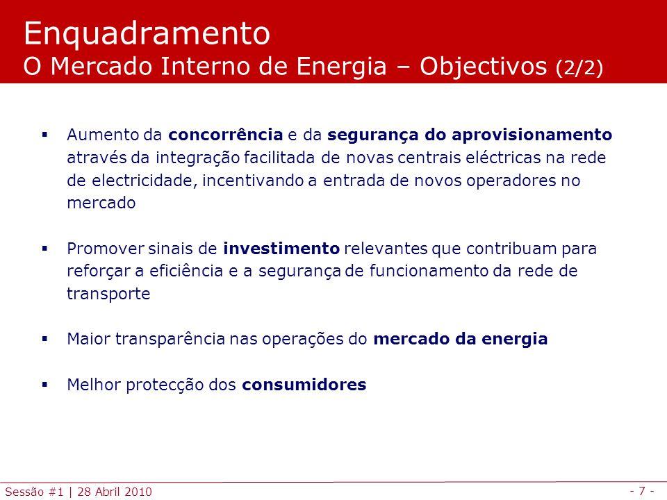 Enquadramento O Mercado Interno de Energia – Objectivos (2/2)