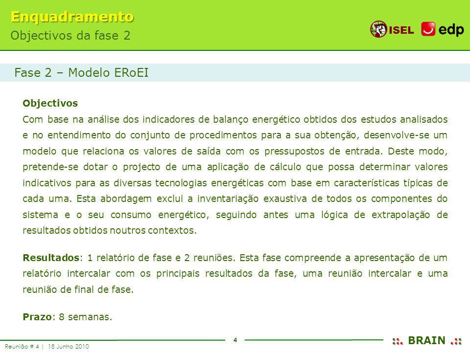Enquadramento Objectivos da fase 2 Fase 2 – Modelo ERoEI Objectivos