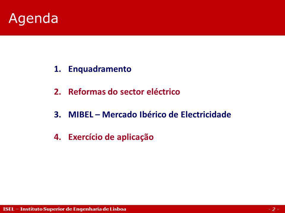 Agenda Enquadramento Reformas do sector eléctrico