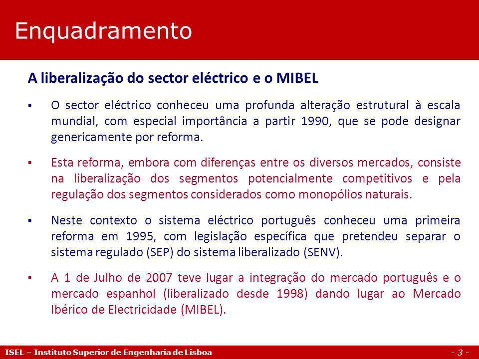 Enquadramento A liberalização do sector eléctrico e o MIBEL