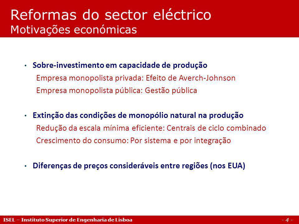 Reformas do sector eléctrico Motivações económicas