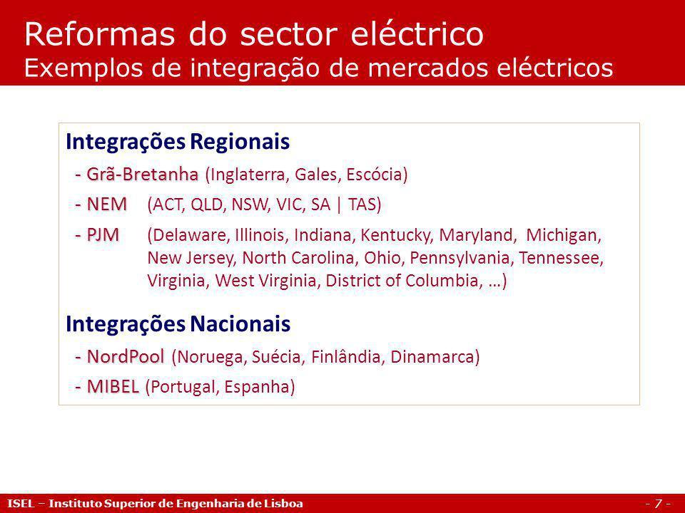 Reformas do sector eléctrico Exemplos de integração de mercados eléctricos
