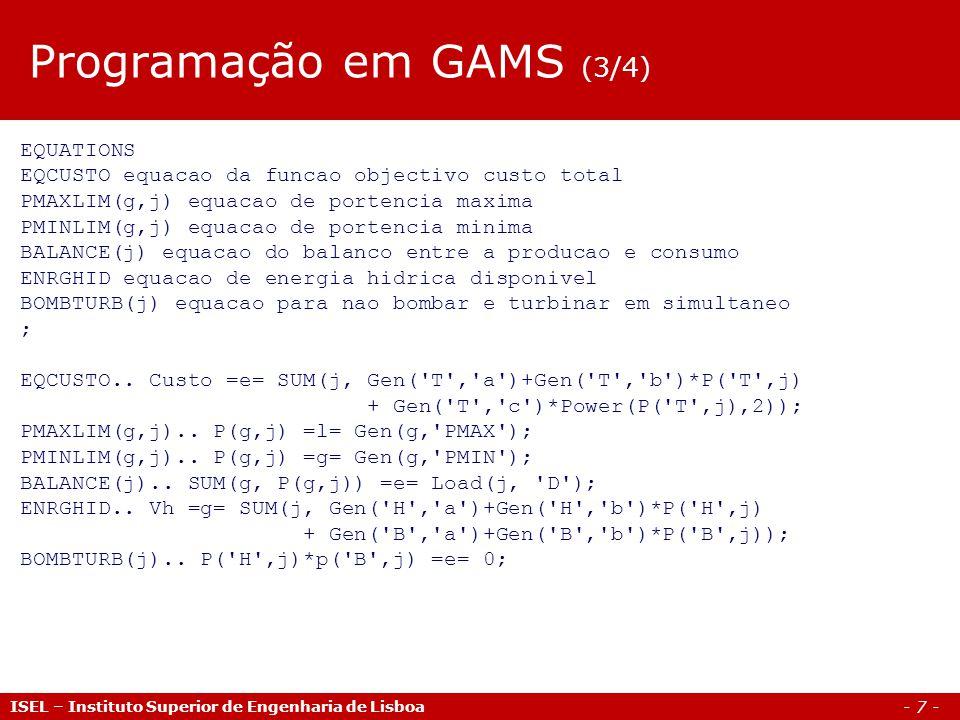 Programação em GAMS (3/4)