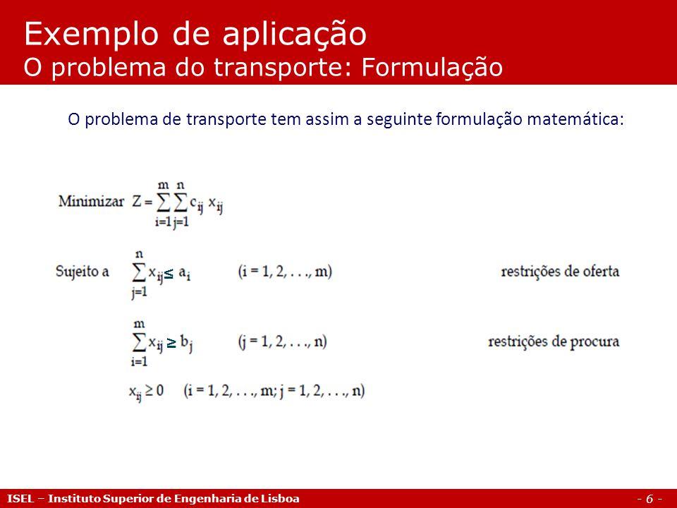 Exemplo de aplicação O problema do transporte: Formulação