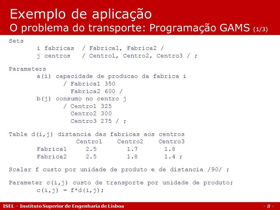 Exemplo de aplicação O problema do transporte: Programação GAMS (1/3)
