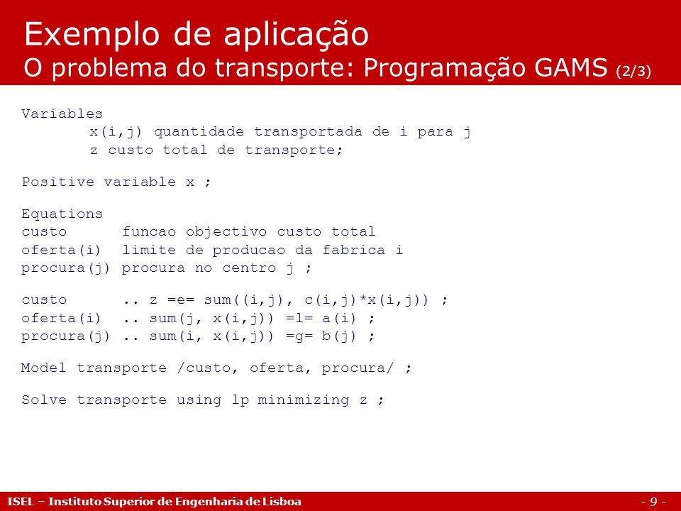 Exemplo de aplicação O problema do transporte: Programação GAMS (2/3)