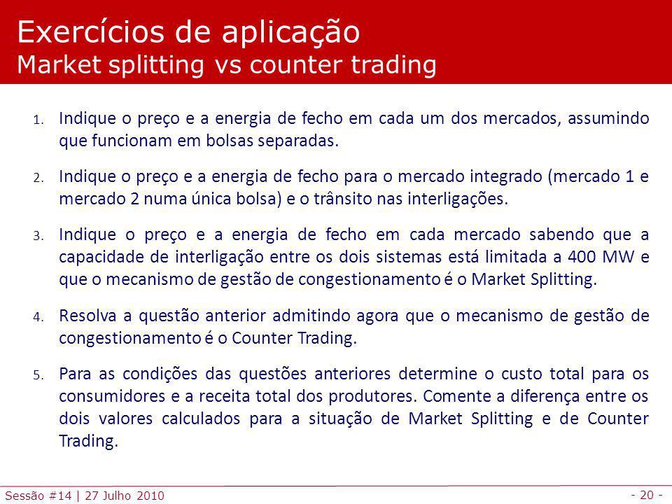 Exercícios de aplicação Market splitting vs counter trading