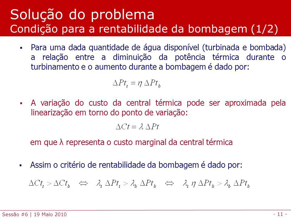 Solução do problema Condição para a rentabilidade da bombagem (1/2)