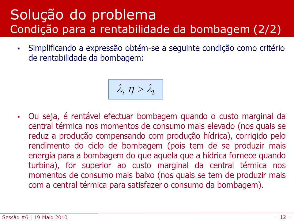 Solução do problema Condição para a rentabilidade da bombagem (2/2)