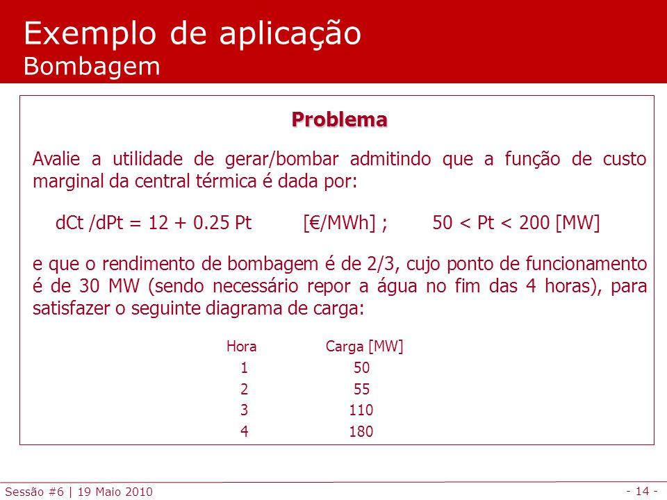 Exemplo de aplicação Bombagem