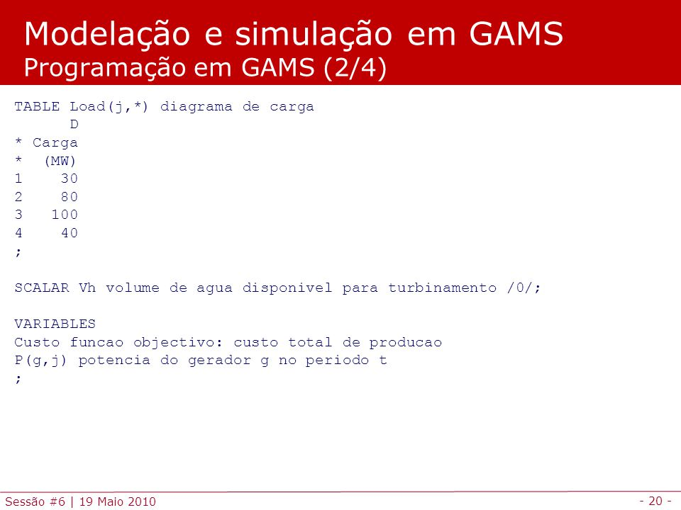 Modelação e simulação em GAMS Programação em GAMS (2/4)