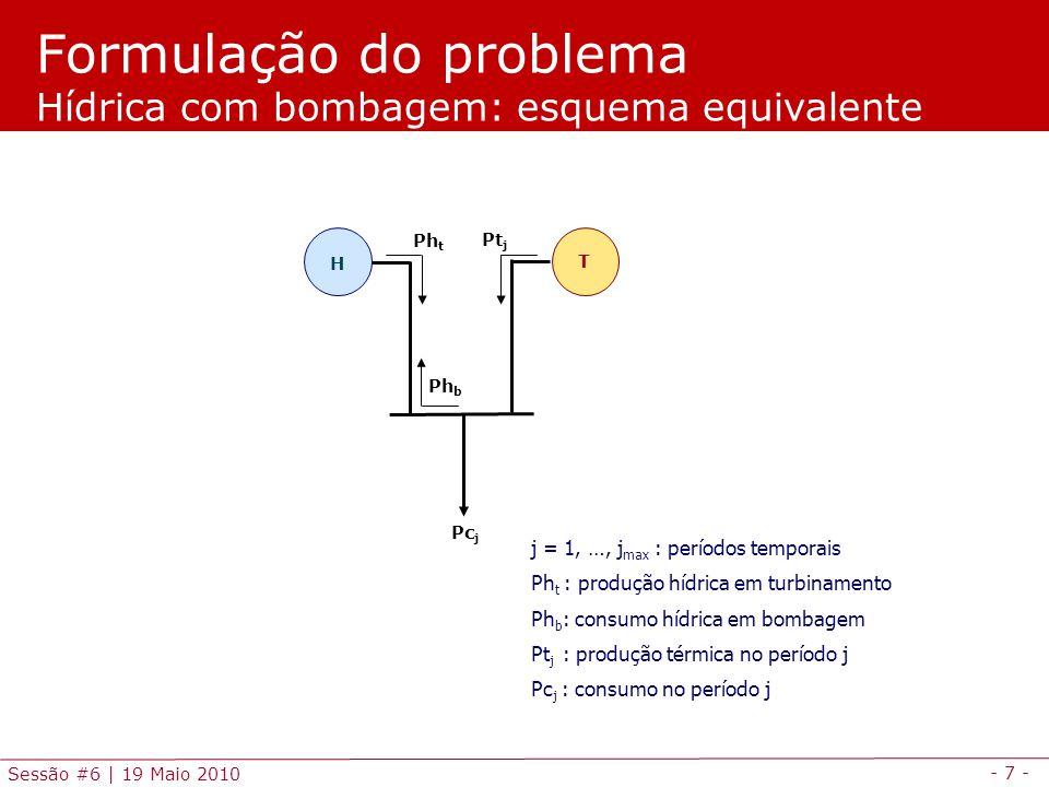 Formulação do problema Hídrica com bombagem: esquema equivalente