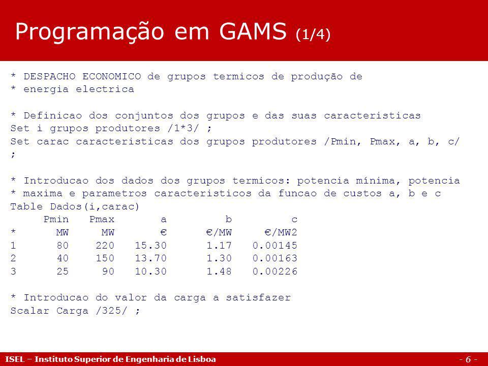 Programação em GAMS (1/4)