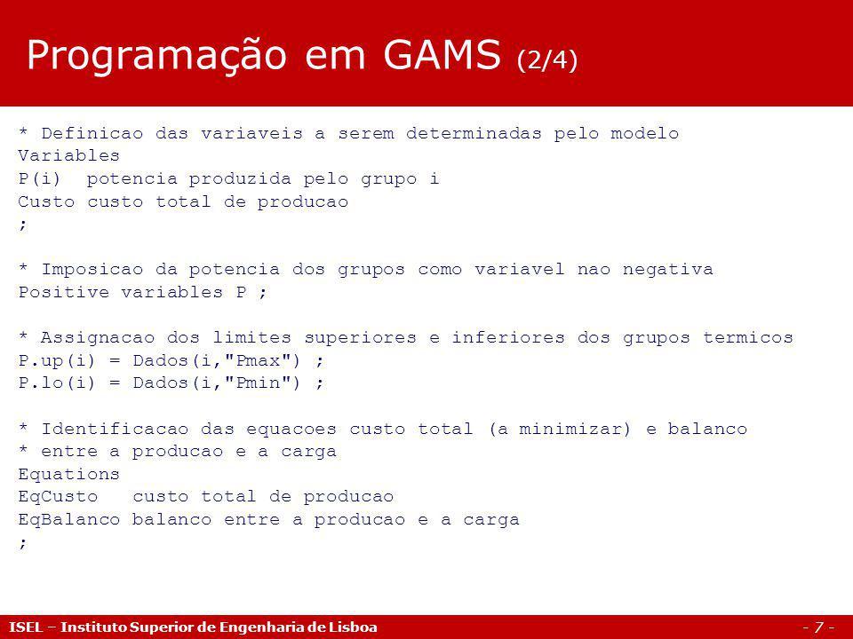 Programação em GAMS (2/4)