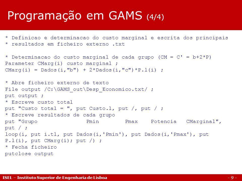 Programação em GAMS (4/4)