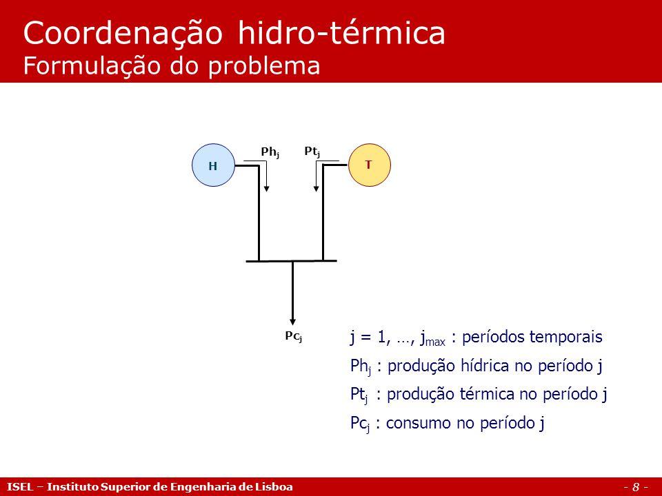Coordenação hidro-térmica Formulação do problema