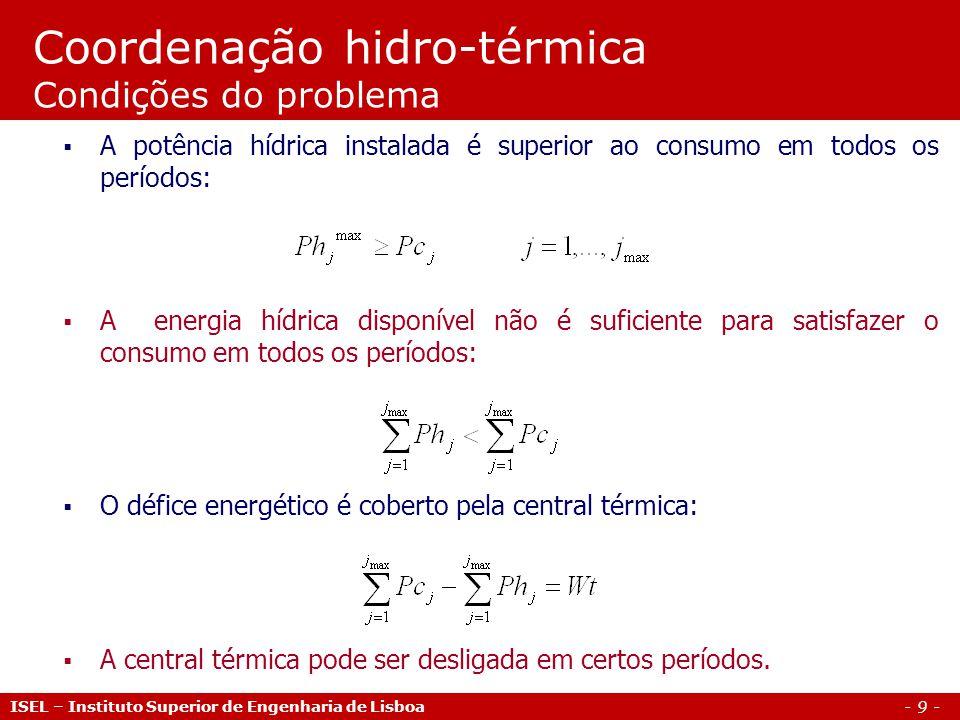 Coordenação hidro-térmica Condições do problema