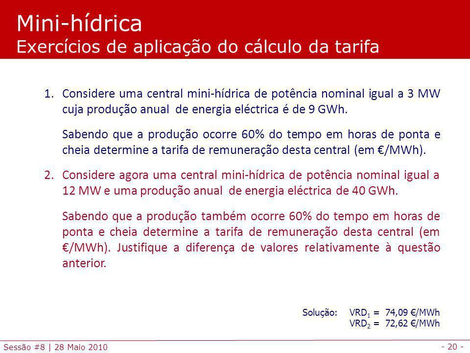 Mini-hídrica Exercícios de aplicação do cálculo da tarifa