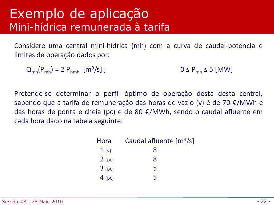 Exemplo de aplicação Mini-hídrica remunerada à tarifa