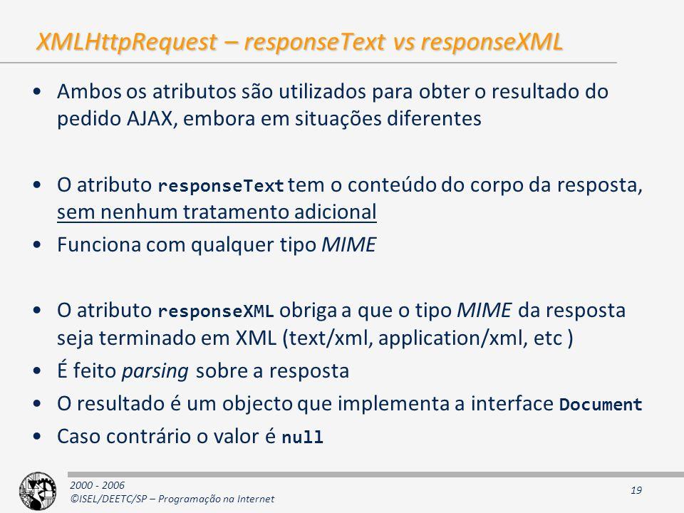 XMLHttpRequest – responseText vs responseXML