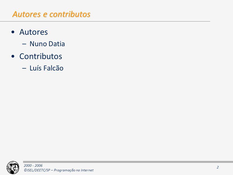 Autores e contributos Autores Nuno Datia Contributos Luís Falcão