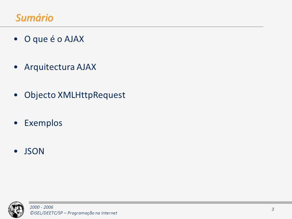 Sumário O que é o AJAX Arquitectura AJAX Objecto XMLHttpRequest