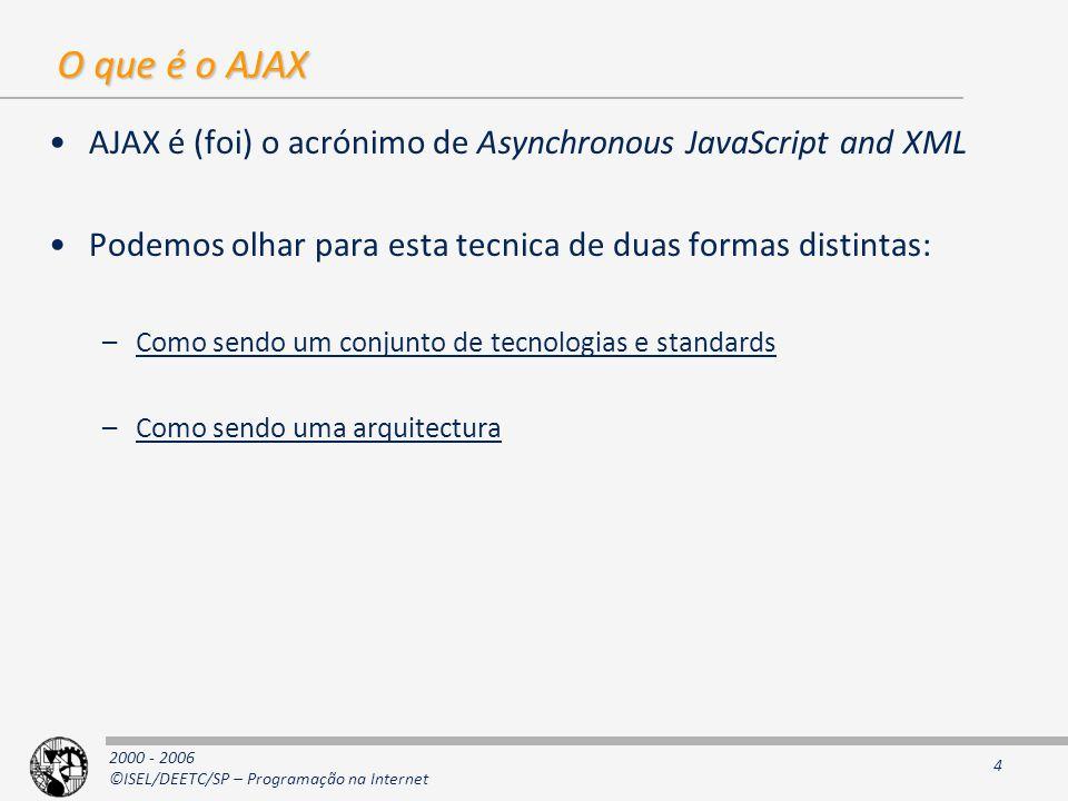O que é o AJAX AJAX é (foi) o acrónimo de Asynchronous JavaScript and XML. Podemos olhar para esta tecnica de duas formas distintas: