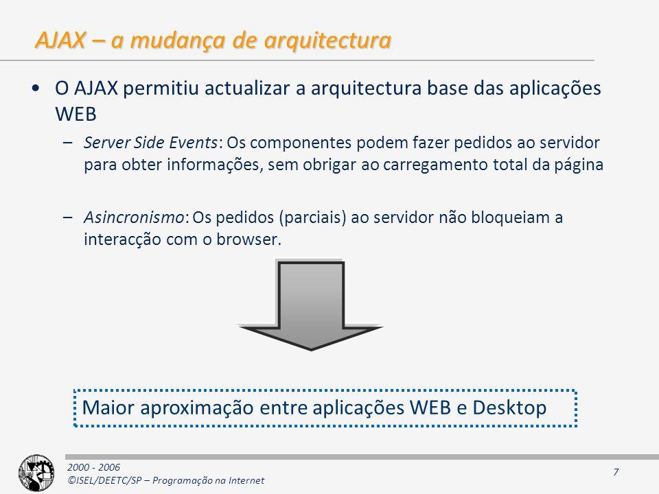 AJAX – a mudança de arquitectura
