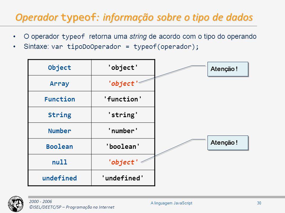 Operador typeof: informação sobre o tipo de dados