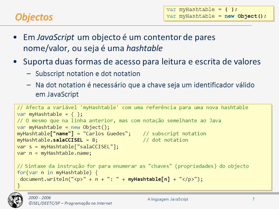 A linguagem JavaScript