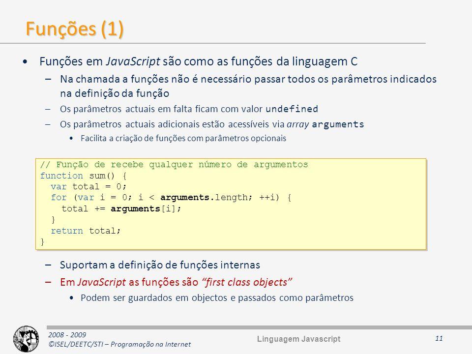 Funções (1) Funções em JavaScript são como as funções da linguagem C