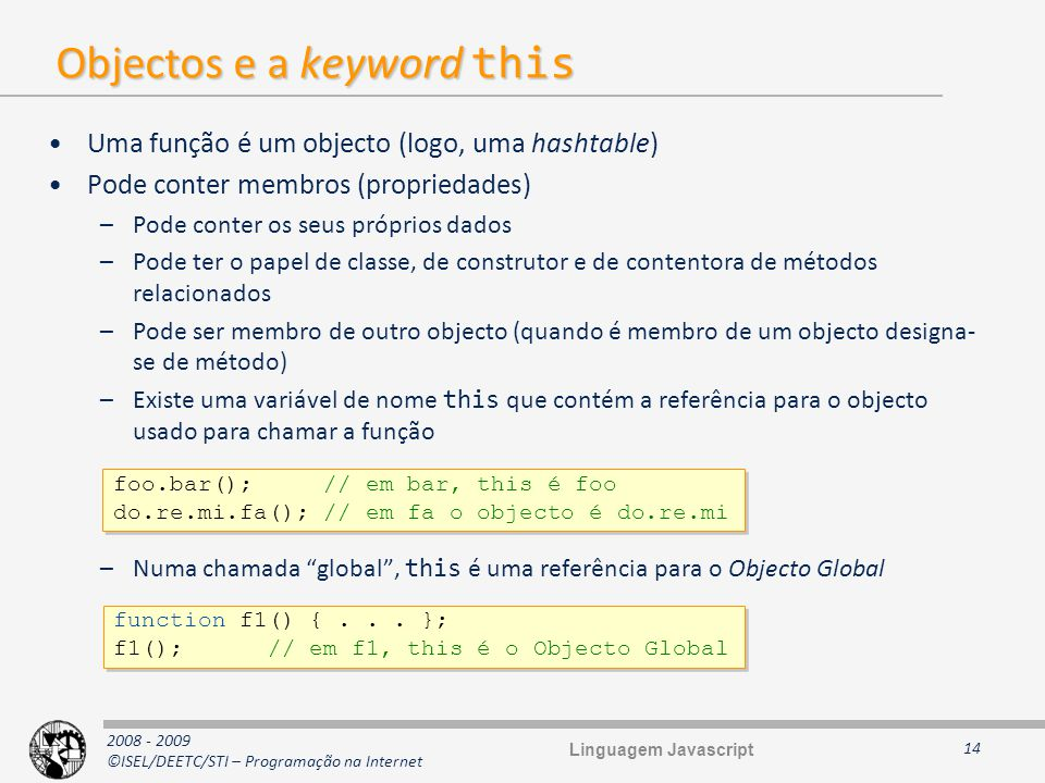 Objectos e a keyword this