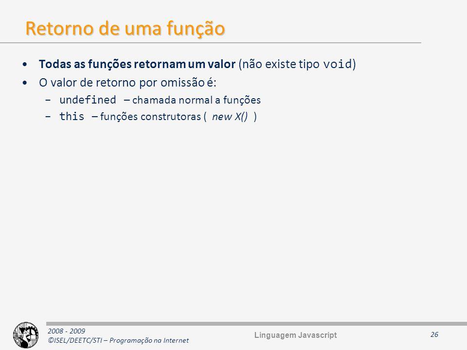 Retorno de uma função Todas as funções retornam um valor (não existe tipo void) O valor de retorno por omissão é: