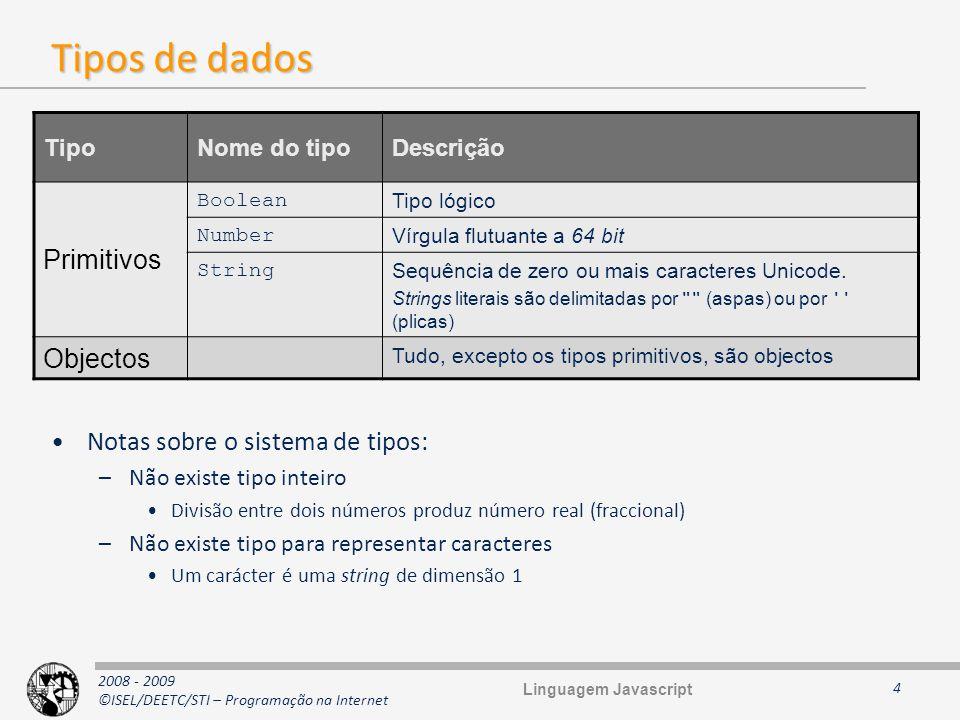 Tipos de dados Primitivos Objectos Notas sobre o sistema de tipos: